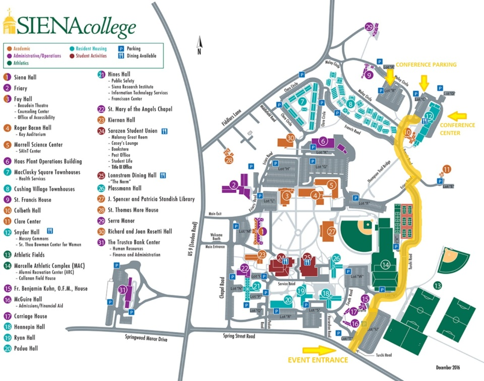 EVOLVE - Siena College Campus Map with Parking Directions